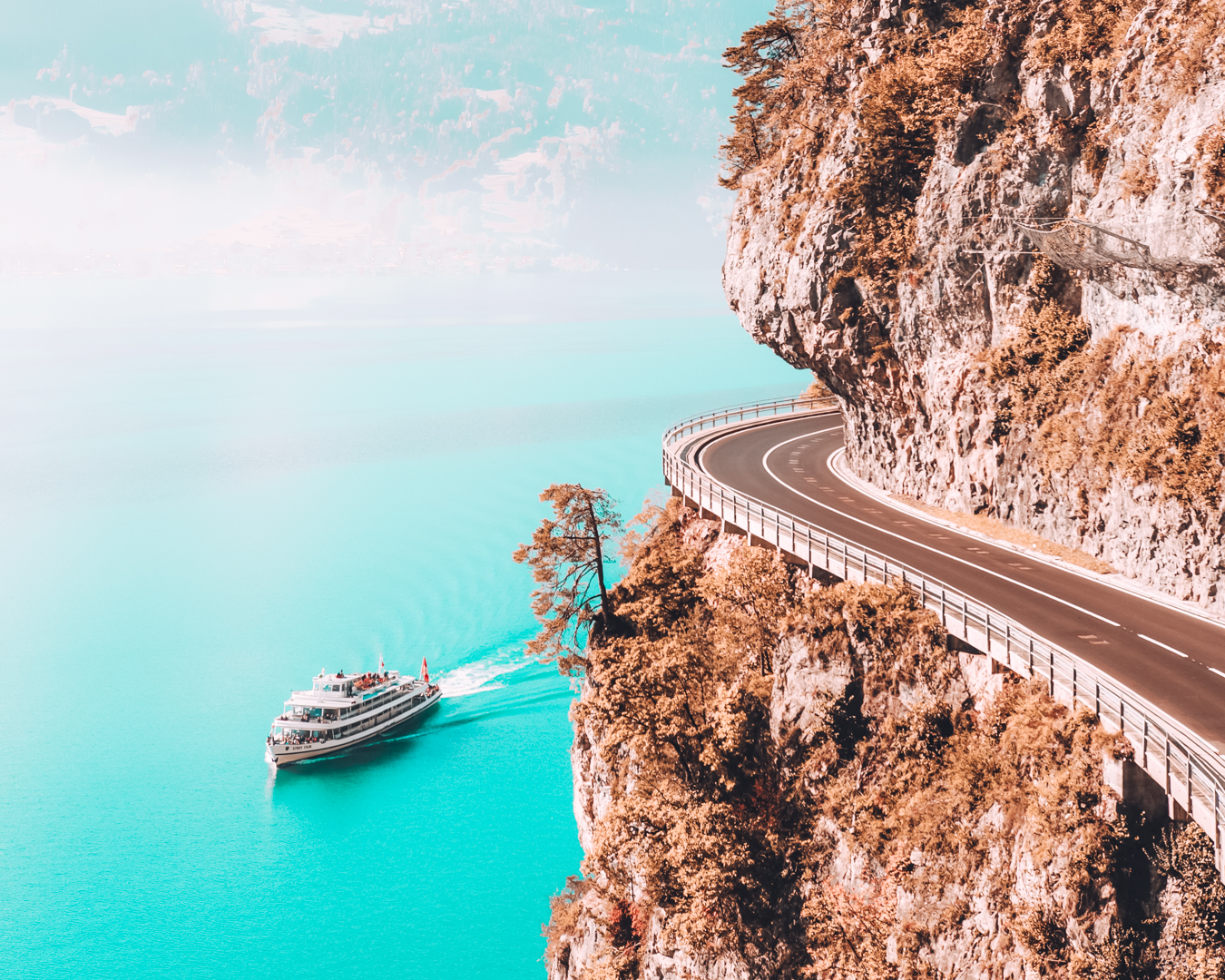 Road and lake in Switzerland