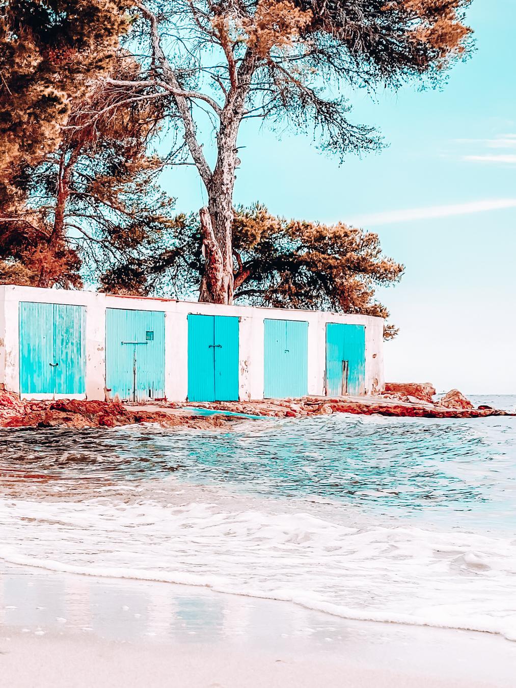 Blue buildings at Cala Pada