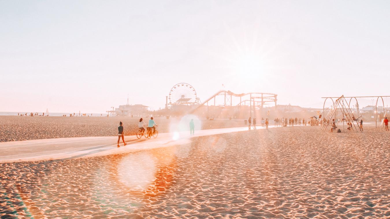 Beach at Santa Monica Pier in Los Angeles