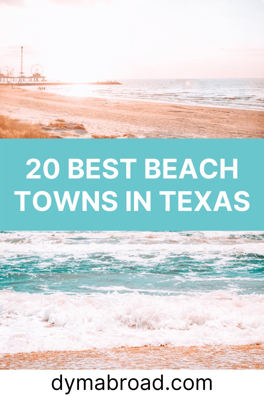 Best beach towns in Texas Pinterest image