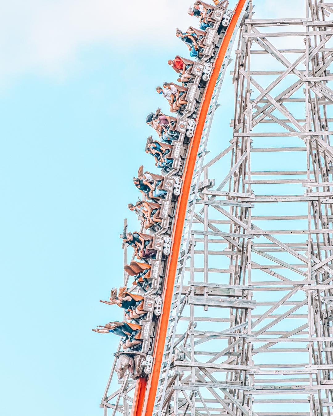 Roller coaster at Six Flags Fiesta Texas