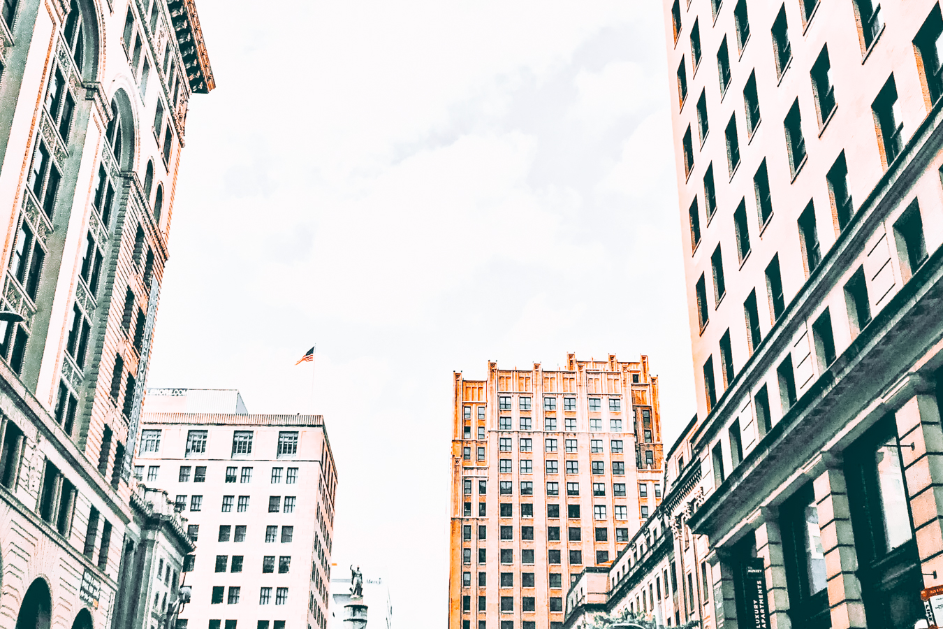 Buildings and a flag in Baltimore