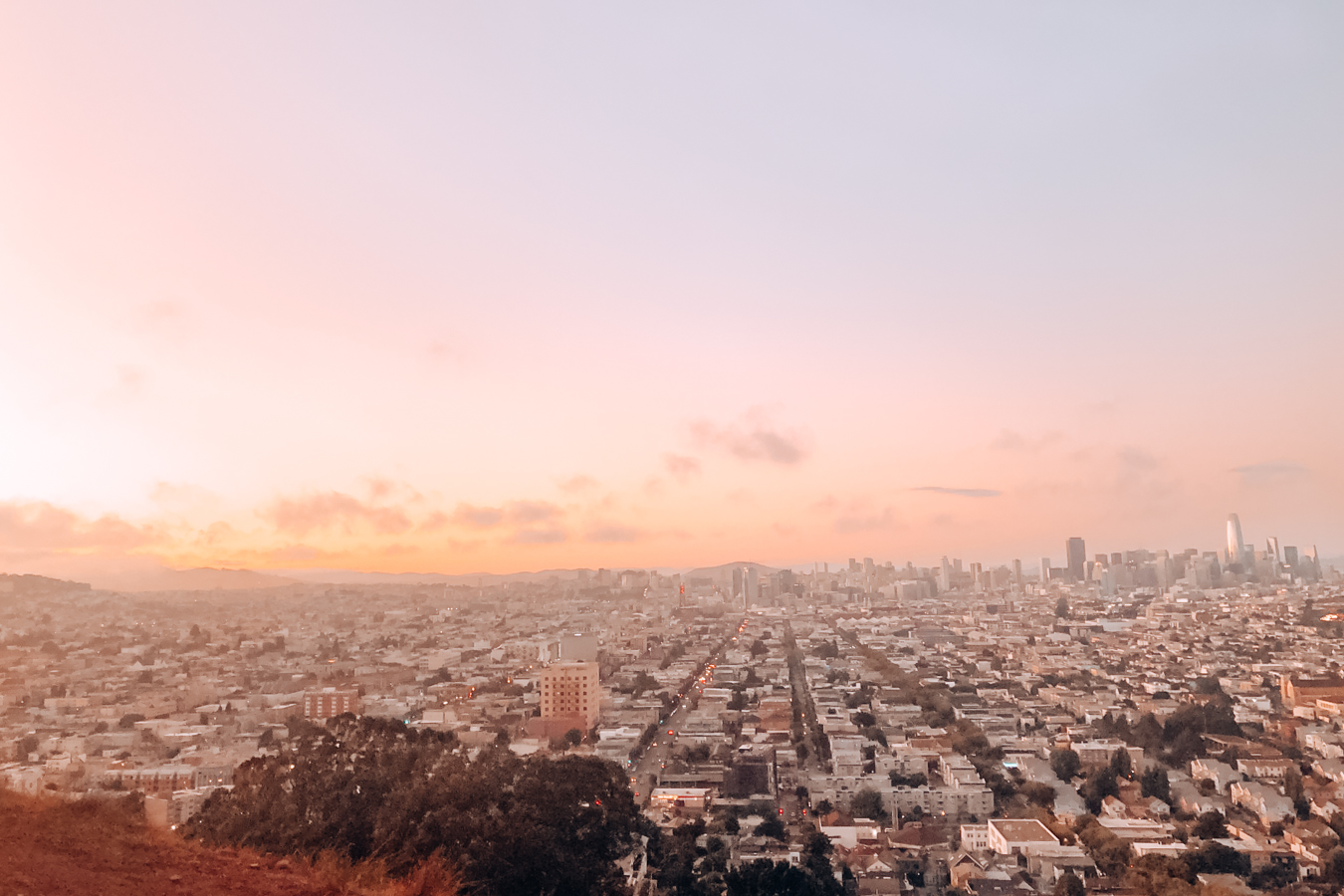 Instagrammable view from Bernal Heights in San Francisco