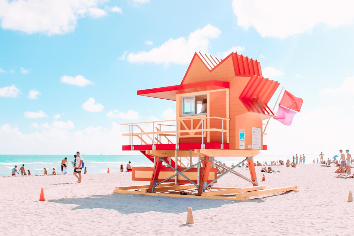 Red beach house at Miami Beach