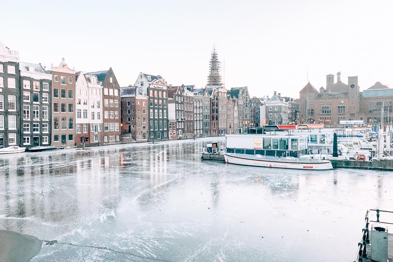 Frozen canal in Amsterdam