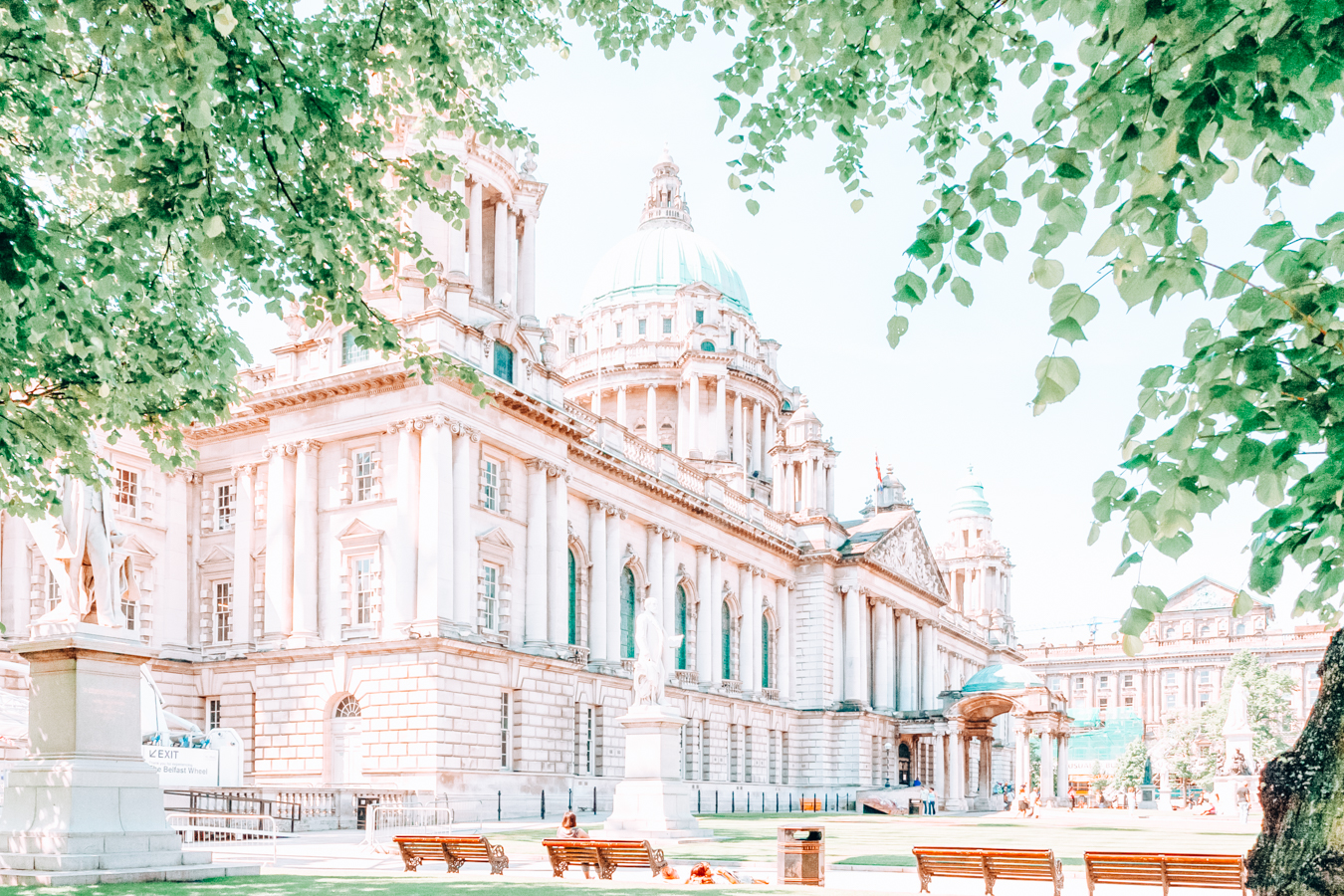 Belfast City Hall and leaves