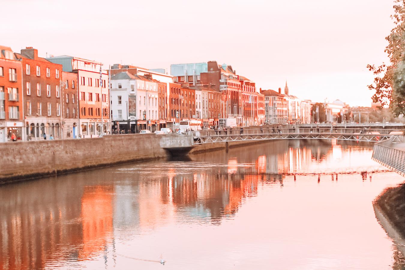 Water, buildings and a bridge in Dublin