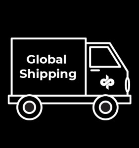 Truck with label 'Global shipping'