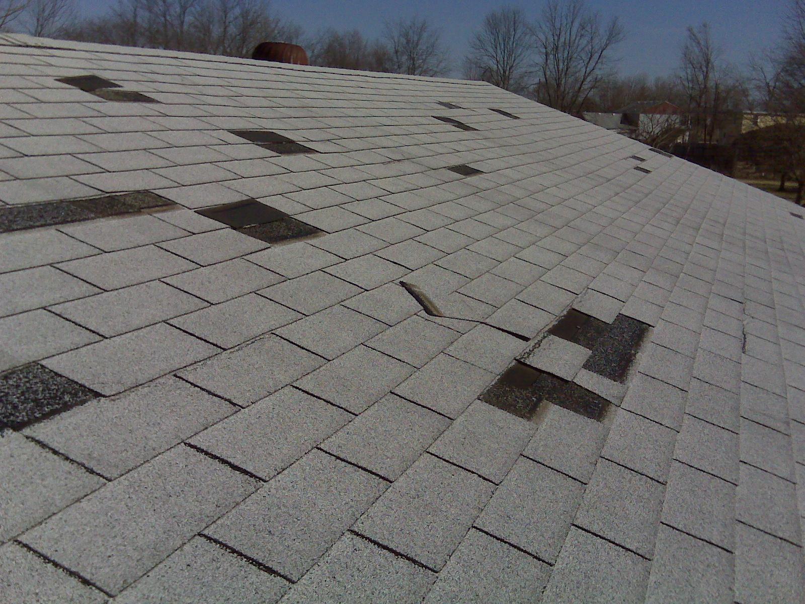 Wind Damage Shingle Roof