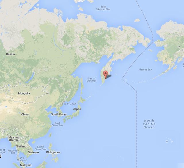 Google map of Kamchutka
