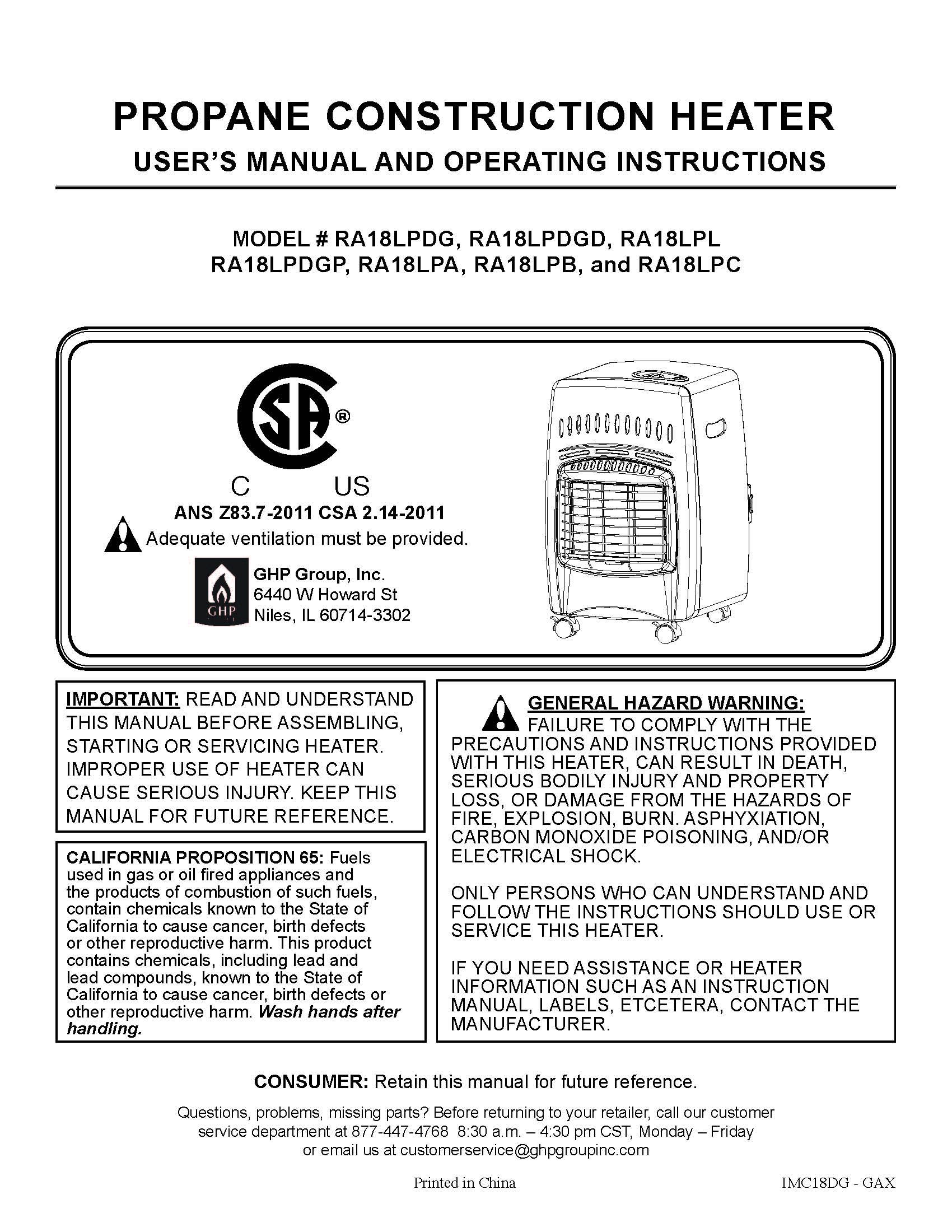 ra18 cabinet heaters owner s manual
