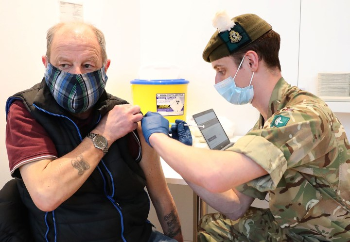 A military doctor administers a Covid-19 vaccine to an Edinburgh resident on February 4.