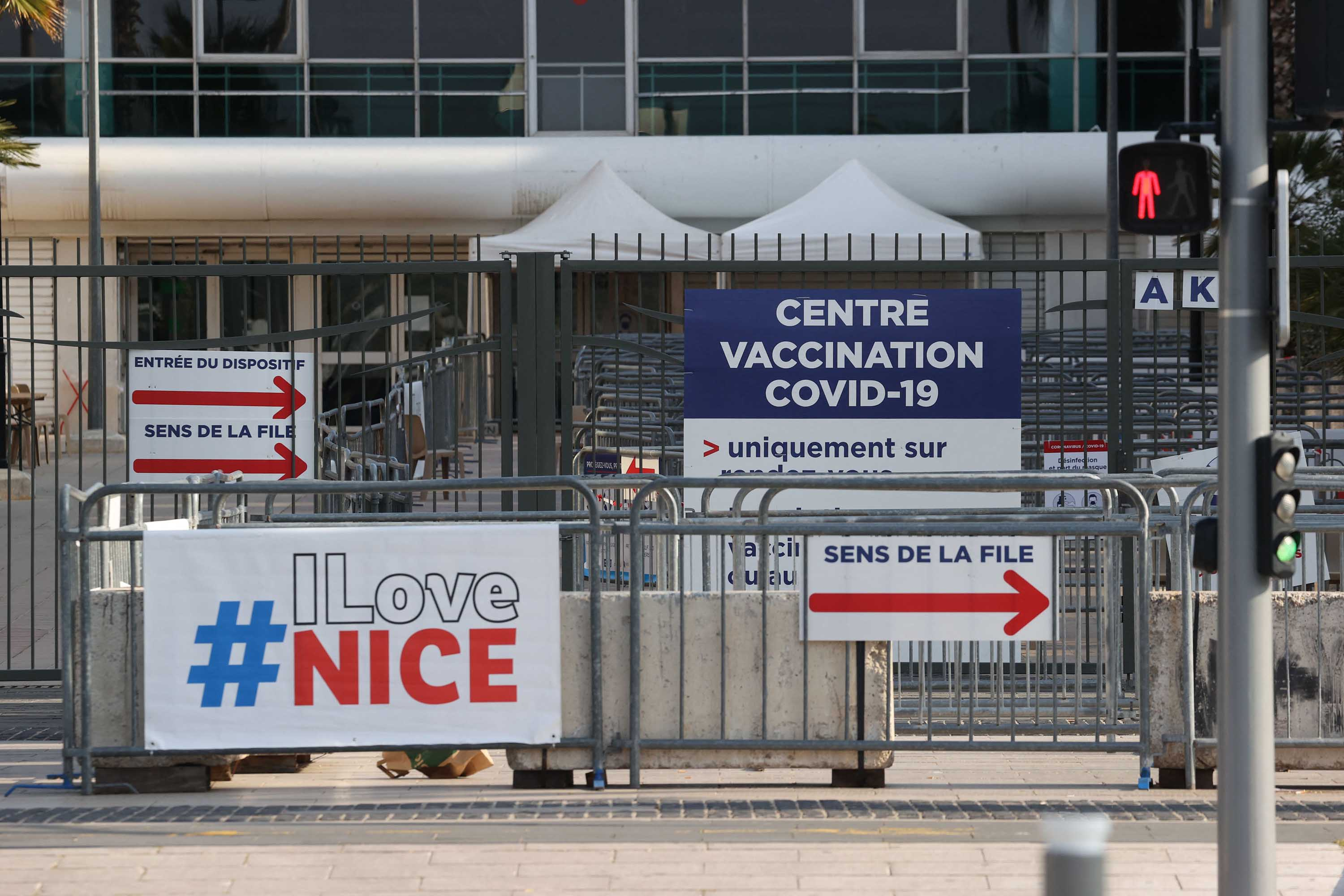 A closed vaccination center is pictured in Nice, France, on April 18. That facility closed on April 17, due to a lack of vaccine candidates.