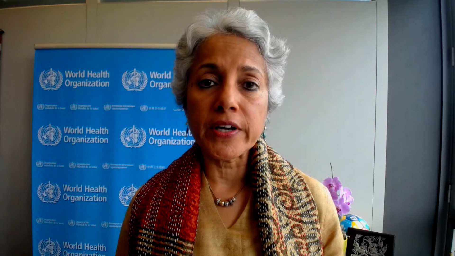World Health Organization's Chief Scientist Soumya Swaminathan speaks during an interview on April 26.