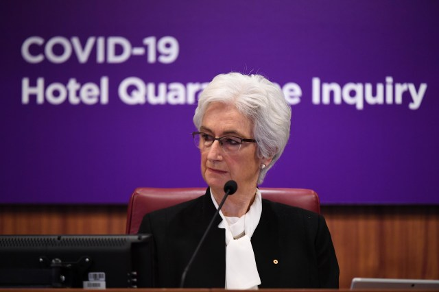 The Honourable Jennifer Coate AO speaks during opening statements for the COVID-19 Hotel Quarantine Inquiry in Melbourne, Australia, on July 20.