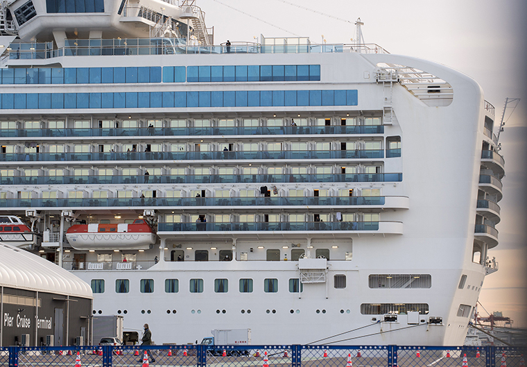 The Diamond Princess, seen on Wednesday, February 12,  is quarantined at the port in Yokohama, near Tokyo.