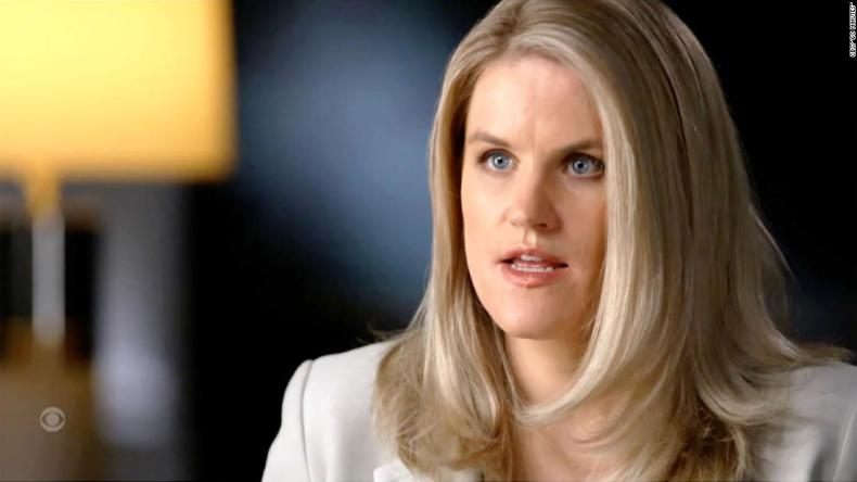 """Frances Haugen, a former Facebook product manager, spoke with Scott Pelley during a """"60 Minutes"""" interview that aired on October 3, 2021."""