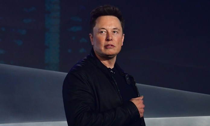Tesla co-founder and CEO Elon Musk presents the all-new all-electric battery-powered Cybertruck at the Tesla Design Center in Hawthorne, California on November 21, 2019.