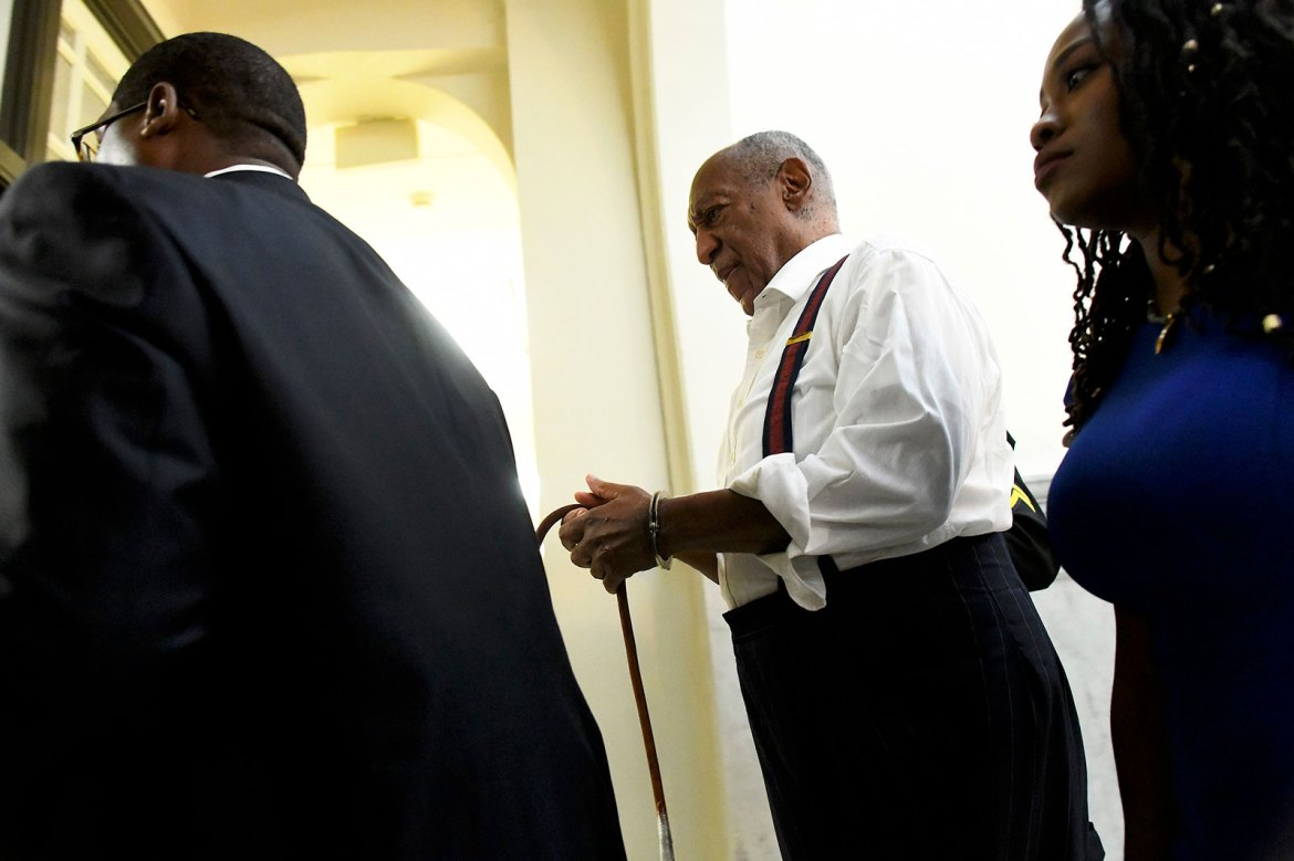 Bill Cosby is taken away in handcuffs after being sentenced in 2018.