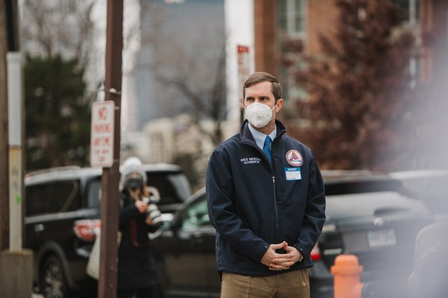 Andy Beshear, governor of Kentucky, arrives at the University Of Louisville Hospital in Louisville, Kentucky, on December 14, 2020.