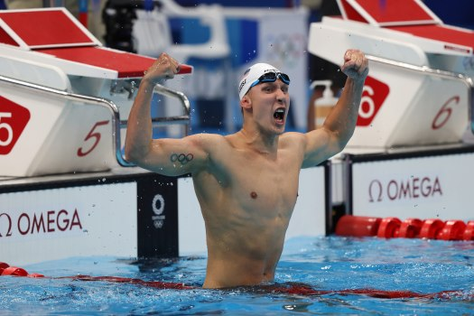 Chase Kalisz of Team United States celebrates after winning the Men's 400m individual medley on July 25.