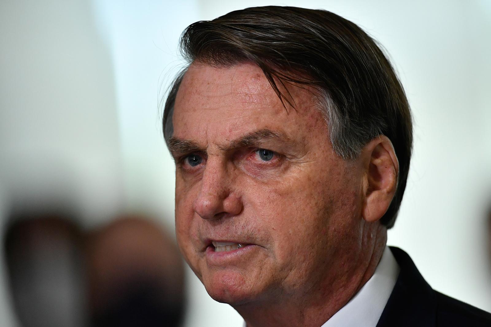 President of Brazil Jair Bolsonaro speaks at the Planalto Palace, Brasilia, Brazil, on March 31.