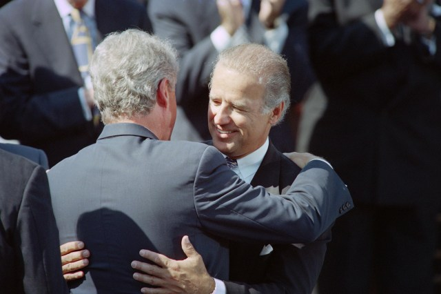 Then-President Bill Clinton hugs then-Sen. Joseph Biden, in September 1994 during a signing ceremony for a crime bill at the White House.
