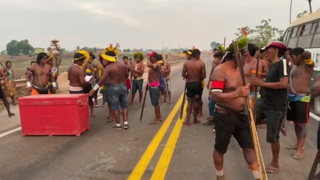 The Kayapó Mekrãgnotire people re-block a key highway in protest over the Brazilian government's Covid-19 response and land invasion.