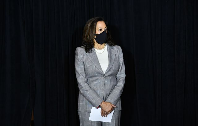 Kamala Harris, the Democratic vice presidential nominee, attends a press conference in Wilmington, Delaware, on August 13.
