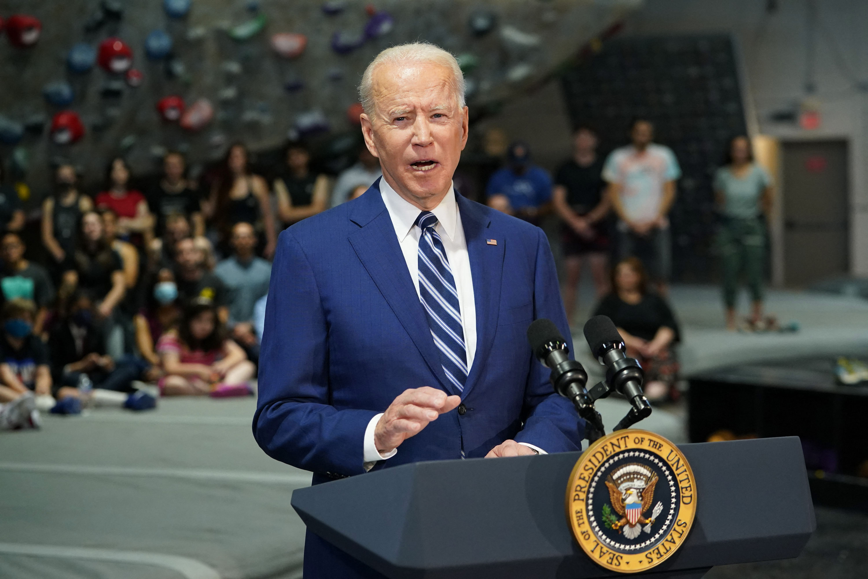 President Joe Biden speaks at the Sportrock Climbing Center in Alexandria, Virginia on May 28.