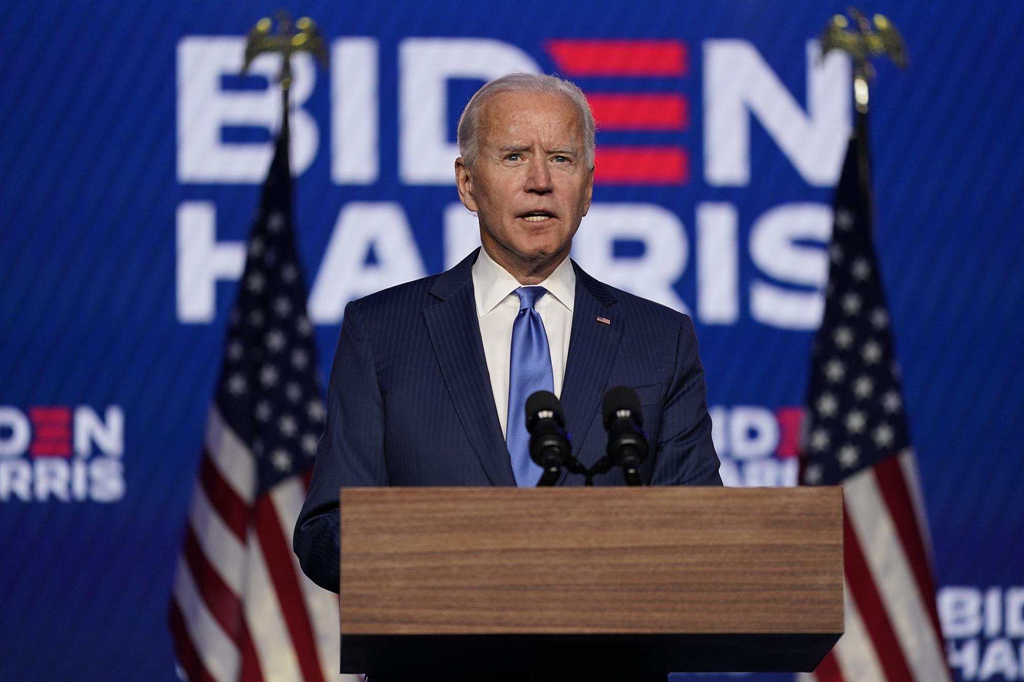 Democratic presidential candidate former Vice President Joe Biden speaks on Friday in Wilmington, Delaware.