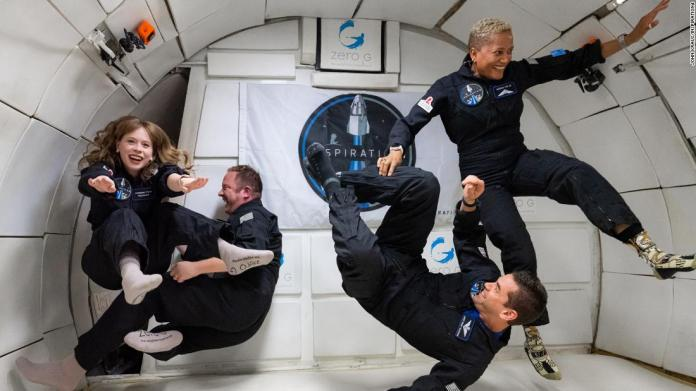 The Inspiration4 crew experiencing weightlessness during Zero-G flight on July 11, 2021.