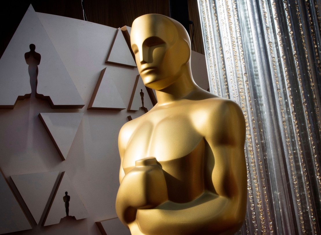 An Oscar statue is displayed on the eve of the 92nd Academy Awards in Hollywood, California, in February 2020.