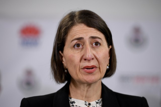 NSW Premier Gladys Berejiklian provides a Covid-19 update at RFS Headquarters in Sydney, on December 19.