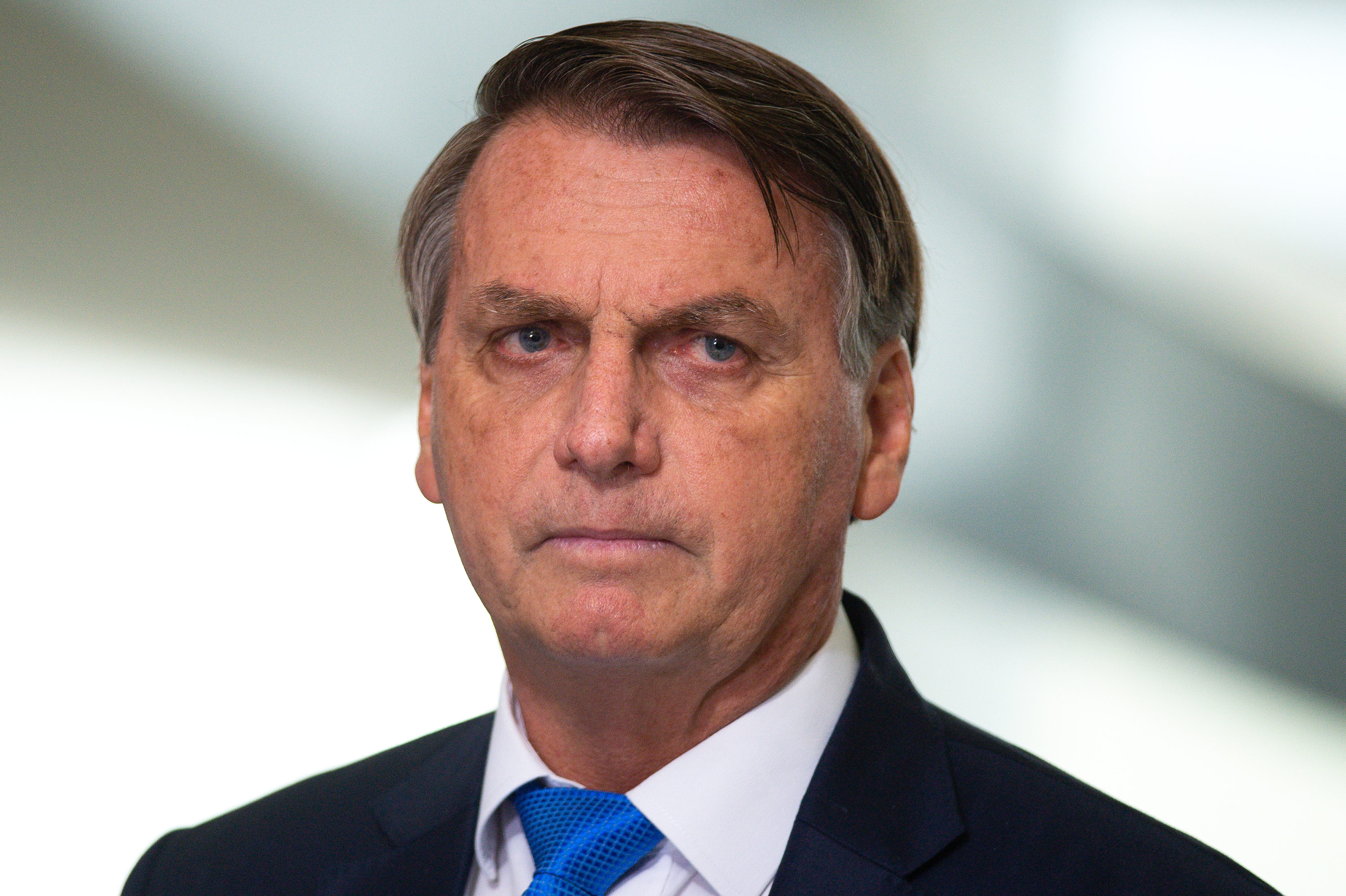 Brazilian President Jair Bolsonaro speaks during a news conference at the Planalto Palace in Brasilia, Brazil, on March 31.