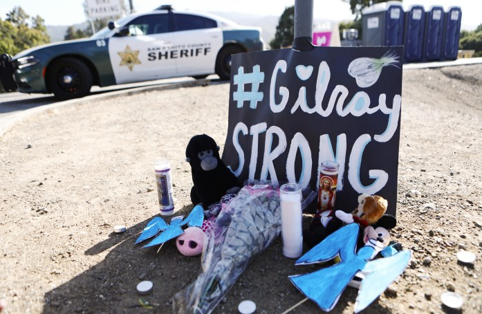 A makeshift memorial outside the site of the Gilroy Garlic Festival on July 29, 2019 in Gilroy, California.