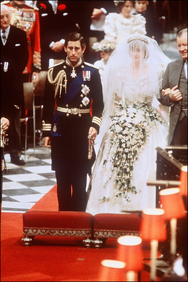 Picture of Lady Diana, Princess of Wales with Prince Charles of Wales at their wedding at St Paul Cathedral in London in 1981.