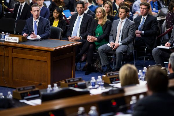 CEO Mark Zuckerberg testifies before a combined Senate Judiciary and Commerce committee hearing.