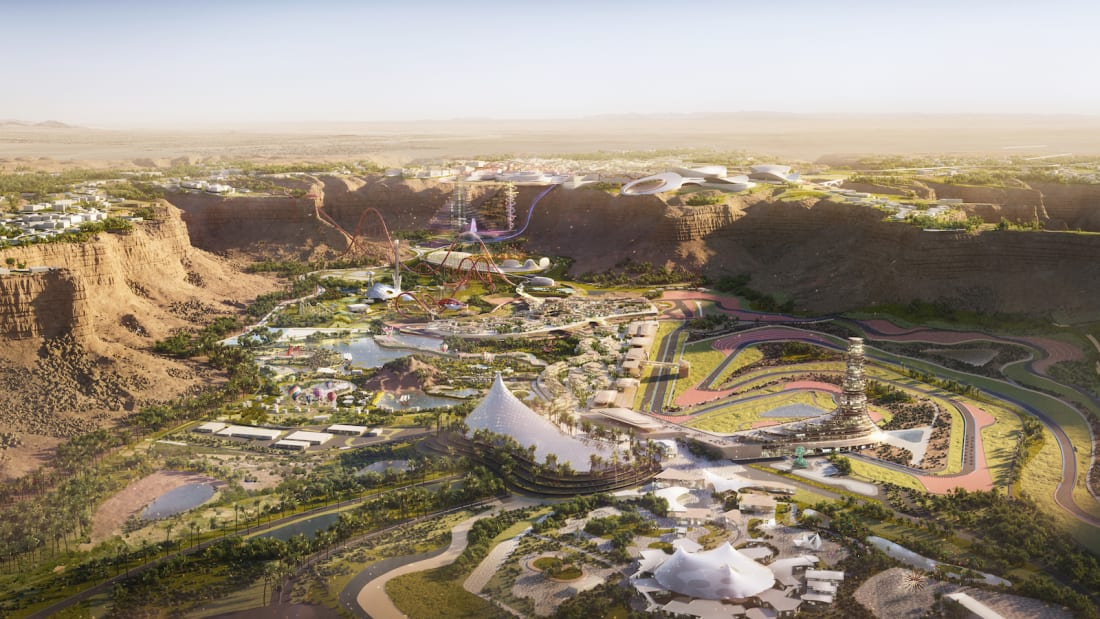 A rendering of Six Flags Qiddiya, due to open in Saudi Arabia in 2023.