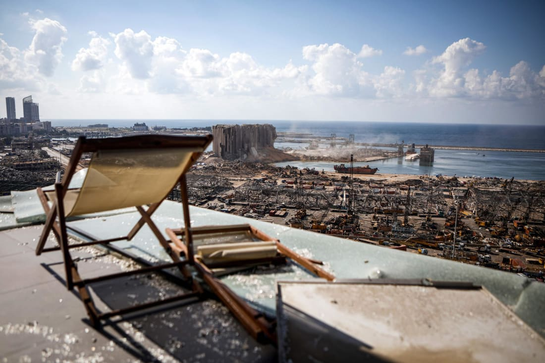 A view from the roof of an apartment building overlooking the ravaged port of Lebanon's capital Beirut in the Mar Mikhael neighborhood.