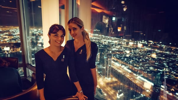 dubai sky high dining at.mosphere