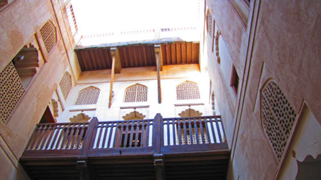 View from the palatial interior courtyard of the Jabreen Castle, built in the 17th century.