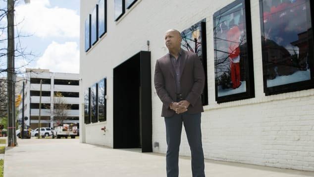 Bryan Stevenson in front of EJI's new museum focusing on the journey from enslavement to mass incarceration.