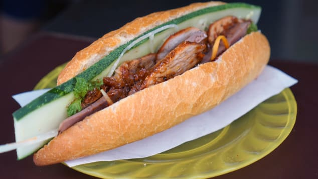 The owner of Phi Banh Mi uses a special roasted pork belly in his banh mi.