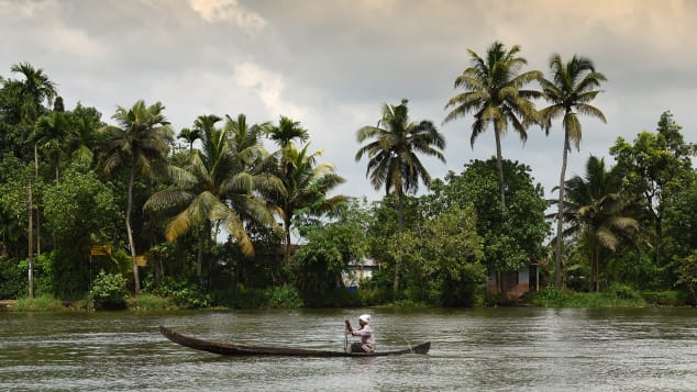 The backwaters of Kerala are an idyllic place to stay on a houseboat.