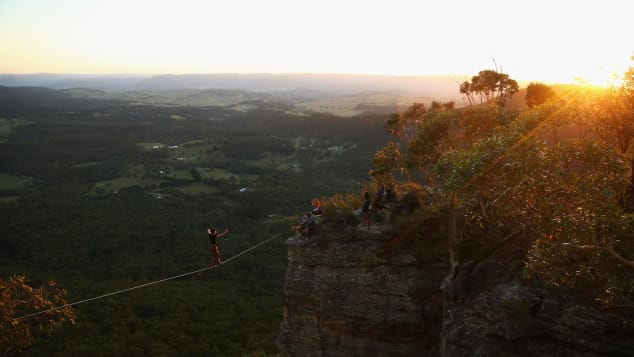 The Blue Mountains attract their fair share of thrill-seekers, such as line walkers (who are attached to safety harnesses).