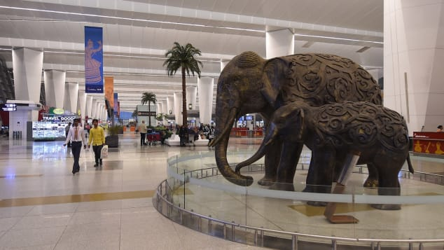 These elephant sculptures  await travelers heading to Terminal 3 of Indira Gandhi International Airport.