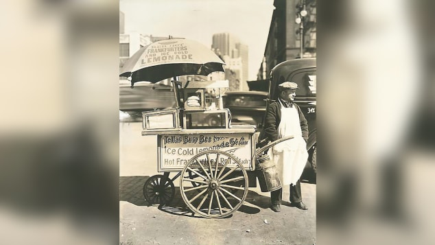 Hot dog historian Bruce Kraig says there's lots of evidence of sausage being sold by vendors, probably in the 1840s, but certainly by the 1860s.