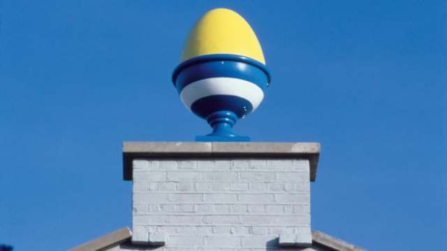 Colorful eggcups decorate the rooftop of this breakfast TV studio.