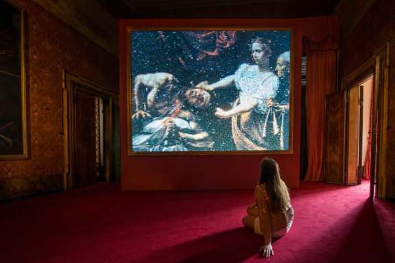 """A view of """"My East is Your West"""" at the 2015 Venice Biennale in Italy."""